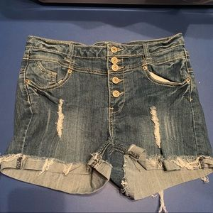 denim jean shorts high wasted